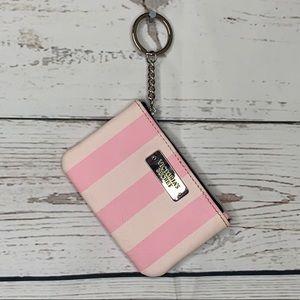 Victoria's Secret Striped Pink Keychain Coin Purse